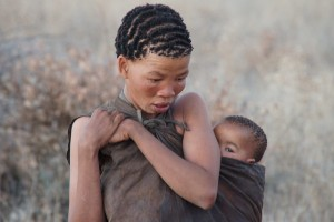 Bushman woman with child
