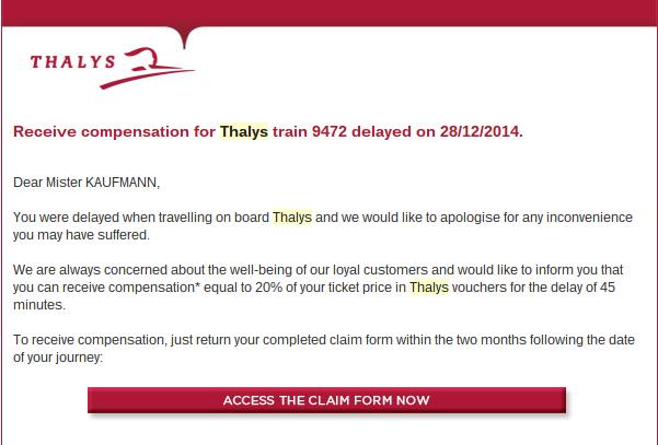 Thalys Compensation