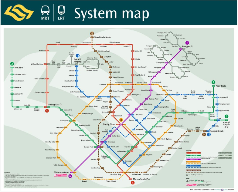 SIN MRT map