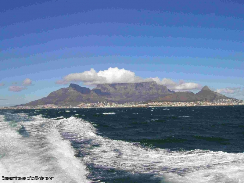 View of Cape Town from the ferry to Robben Island