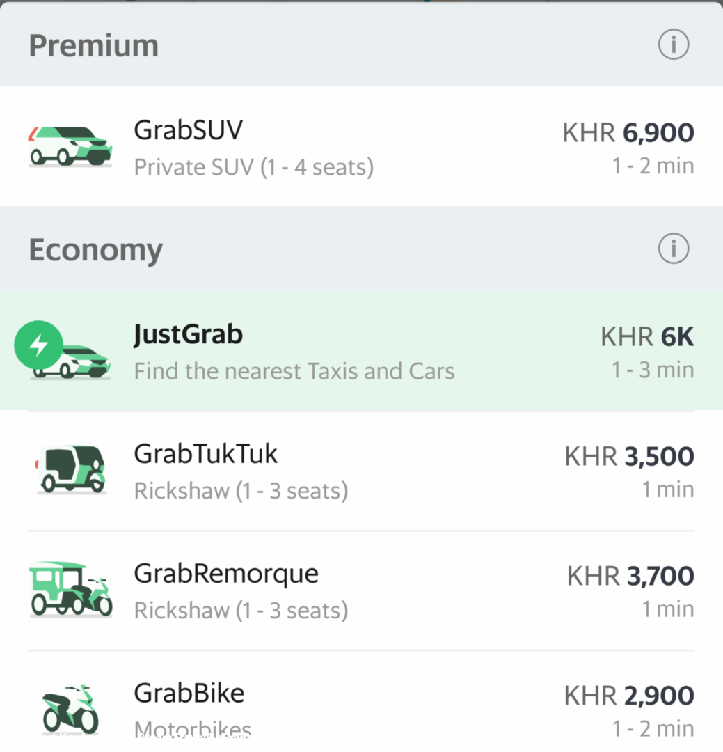 How to use grab in Phnom Penh and Siem Reap, Cambodia from the
